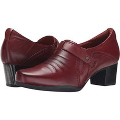 Clarks Rosalyn Nicole (Wine Leather) Women's  Shoes ($55) ❤ liked on Polyvore featuring shoes, burgundy, pull on shoes, wide heel shoes, clarks, ortholite shoes and clarks footwear
