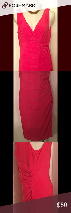 NWT Hot Pink party Dress 🎉 Lauren by Ralph Lauren Bright Pink side rouche mid length dress. This dress has a modest v neck line that can be styled up with a Statement necklace. lauren by Ralph Lauren Dresses Midi