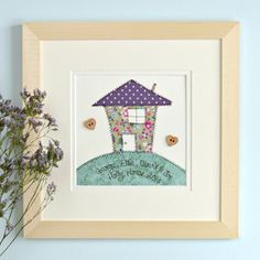 Personalised Embroidered New Home Artwork Embroidery Cards, Free Motion Embroidery, Embroidery Patterns Free, Free Machine Embroidery, Embroidery Applique, Cross Stitch Embroidery, Box Frame Art, Box Frames, Collage Frames