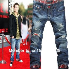 2014 New Fashion Hip Hop Jeans Men Famous Brand Splash-ink Red Holes Slim Straight Cotton Denim Pants Ripped Jeans for Men $30.96