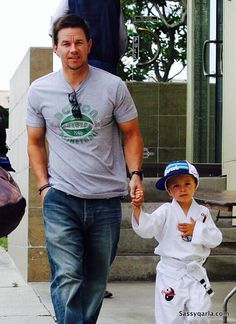 Mark with his Son in his Karate Outfit