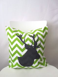 18 inch throw pillow cover Chevron with stag by bisousrose on Etsy, $29.95