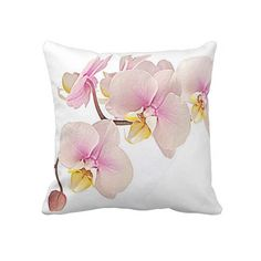 Unique, trendy, and romantic throw pillow. Beautiful soft pastel pink Orchids in bloom. Elegant, pretty and stylish floral design created for the nature, flora, flower or garden lover. Cute and fun girly girl's or mom's birthday present, Mother's day, or Christmas gift. Original, classy, chic and stylish pillow to decorate your master or children's bedroom, college dorm, nursery, living or family room, log cabin, beach house, country cottage, river or lake vacation home or office with.