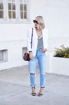 Always good to see our amazing white blazer styled so beautifully! photo by: Blame it on Barney White Blazer Outfits, White Blazer Women, Blazer Outfits For Women, Blazers For Women, Mode Outfits, Chic Outfits, Summer Outfits, Fashion Outfits, Fall Fashion