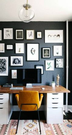 It doesn't take much to fill your home with tons of style—and this small apartment space is proof of that! This home office for instance uses a bold paint color, printed rug, sleek furniture pieces, and a unique gallery wall to achieve a trendy design.