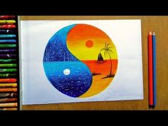 wonderful unique legendary sunset and moonlight painting oil - pastel colour drawing Oil Pastel Drawings Easy, Oil Pastel Paintings, Oil Pastel Art, Colorful Drawings, Art Drawings, Unique Drawings, Horse Paintings, Watercolour Paintings, Drawing Art