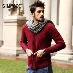 009efcf5b15 Men s 70% Wool Mens Sweaters Winter Spring Cardigan Men 18 New Fashion  Casual Slim Pockets Red Sweater Brand Clothing MY331