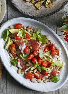 Cannellini bean, avocado and prosciutto salad