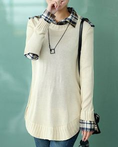 Stylish Shirt Collar Long Sleeve Loose-Fitting Plaid Spliced Knitwear For Women