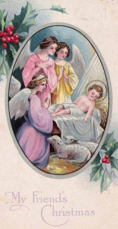 Vintage Christmas Card with JESUS and angels surrounding Him! (1/2/2014)  Christmas (CTS)