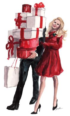 Illustration with preppy couple carrying presents.