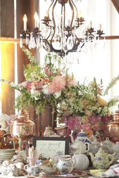 The tea table at a wedding with Southern touches.  Design by Tricia Fountaine.  Photography by Carolyn Tran