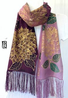 Hand Painted Silk Fringe Scarf Japanese Golden Dahlias