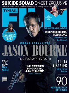 I have been sent this new image of Matt Damon as Jason Bourne, which will feature in this months Total Film. Jason Bourne sees original actor and director, [. Jason Bourne 2016, Matt Damon Jason Bourne, Love Movie, Movie Tv, Bourne Movies, Movies For Sale, Movie Magazine, Magazine Cover Design, Magazine Covers