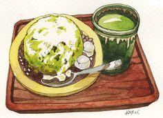 kaori nakazato's illustration official web site Dessert Illustration, Watercolor Illustration, Desserts Drawing, Chibi Food, Food Log, Watercolor Food, Food Painting, Food Icons, Food Journal