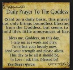 Daily prayer to the goddess, wiccan, pagan Wiccan Witch, Magick Spells, Wicca Witchcraft, Luck Spells, Healing Spells, Witch Rituals, Wiccan Books, Moon Spells, Wiccan Magic