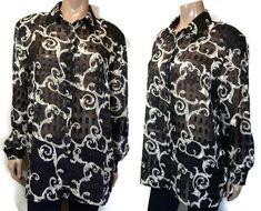 Vtg Chagall Sheer Metallic Textured Blouse Womens Size 16 Black Gold Shirt Top #Chagall #ButtonUp #PartyCocktail Black And Gold Shirt, Black Gold, Blouse Dress, Sheer Blouse, Size 22 Dresses, Shirt Blouses, Shirts, Collar Styles, Black Tank Tops