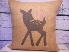 Child's deer and butterfly pillow cover - burlap - perfect for a rustic nursery - child's name can be added - Pillow Insert Sold Separately. $34.00, via Etsy.