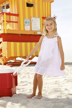 Peixoto Kids Juju - Kids White Dress. The Peixoto Kids Juju Dress is a beautiful cover up for beach days and goes perfectly with all Little Peixoto Swimwear. The Kids Crochet Dress is made of great quality fabric in Columbia with care. Little fashionistas will love this alternative to your average beach cover up. #kids