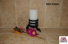 Portavelas con velón de ceras artesanales. www.decoartesanalfdc.com