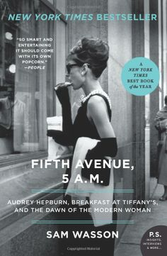 """""""Fifth Avenue, 5 A.M.: Audrey Hepburn, Breakfast at Tiffany's, and the Dawn of the Modern Woman"""" by Sam Wasson.  A short (207 pages plus 24 pgs. of notes) but sweet 'n' elegant history of the making of """"Breakfast At Tiffany's"""", with fine word sketches of the creative staff, actors--and especially Audrey.  Author Wasson also manages to set the film in its historical matrix. (*Note the crew reflection in the window; this was not publicity release pic.)"""