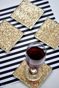 Easy DIY Glitter Coasters — A Lovely Recovery