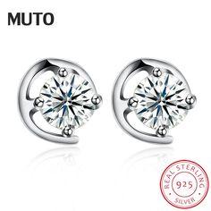 MUTO 925 Sterling Silver Stud earrings pendientes mujer moda SVED4101 Certificate NO.: 10170519736