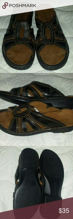 Clarks leather Sandals size 8.5 Very lightly used Clarks sandals, dark brown leather with light brown accent stitching. Made in brazil.  Very nice and very comfortable. From a 100% smoke free environment, homes, cars, place of employment are all smoke free and I rarely go where smoking is permitted. Clarks Shoes Sandals