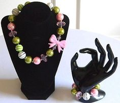 Girls Pink & Green Boutique Necklace & Bracelet Set Chunky Bubble Jewelry Gift