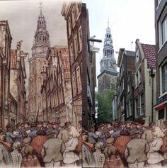 St. Annendwarsstraat, Amsterdam Anton Pieck, Amsterdam Art, Red Light District, Painting, Vintage, Kunst, Painting Art, Paintings, Vintage Comics