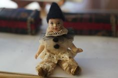 """One-of-a-Kind (OOAK) re-created wax over Porcelain Clown Doll. 6"""""""