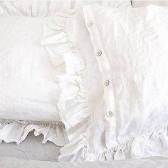 Frayed Ruffle Linen Pillow Sham Luxury Bedding - Hallstrom Home - 1