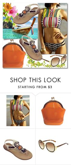 """""""TwinkleDeals: Bikini"""" by andrea2andare ❤ liked on Polyvore featuring sandals, bikini, bag, sunglasses and twinkledeals"""
