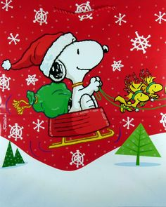 "Christmas.    (no words - ""Snoopy Santa"")   --Peanuts Gang/Snoopy, Woodstock & Woodstock's pal"