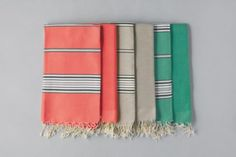 Monocle pairs with Monocle Zaâma to release this set of Duo-Foutas. These Duo-Fouta pairs come with a fouta towel, and a hammam, a Turkish bath towel. Turkish Bath Towels, Summer Accessories, Beach Towel, Interior Decorating, Textiles, Stuff To Buy, Colour Palettes, Color, Pairs