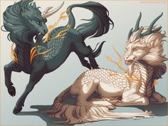Qilin - Kirin ( Dragon Horse ) - Commission by Shinerai Animal Art, Character Design, Mythical Animal, Drawings, Fantasy Art, Dragon Horse, Creature Art, Art, Mythical Creatures Art