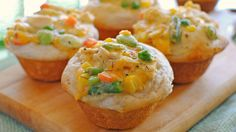 Chicken Pot Pie Cupcakes - the family loved these. the only tweak i have is that i ended up with way more filling over biscuits so next time i would say double the biscuits.