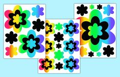 RAINBOW FLOWER DECALS Girl Floral Wall Art Stickers Teen Room Decor Kids Childrens Bedroom Decorations. Also available in Hot Pink, Purple, and Turquoise Teal Blue #decampstudios