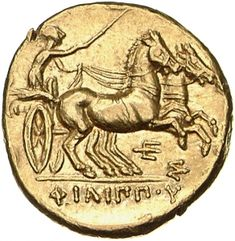 Statere - oro - Pella, Macedonia (323-315 a.C.) - ΦΙΛΙΠΠOΥ. biga al galoppo vs.dx. l'auriga ha una frusta nella destra - Münzkabinett Berlin