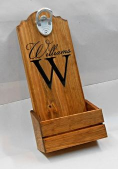 Bottle cap catcher personalized for your man cave.  by MVwoodworks, $49.95