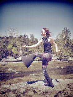 Assanas yoga pants. Steph in the boot cut purple swirl ruffle/grey cotton combo. cute.