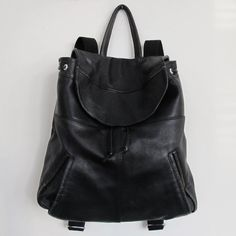 Black Repurposed Leather Backpack by TheCOBShop on Etsy