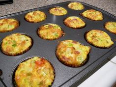 Egg Muffins 12-15 eggs seasoning 1 C grated cheese diced omelet veggies &/or meats  Layer muffin tins 2/3 full with veggies/meats. Pour egg mixture over till 3/4 full. Bake at 375 for 25-35 min or until golden.  Will keep for up to 1 week or freeze. For best results, thaw in refrigerator before reheating. Microwave on high about 2 minutes to reheat.