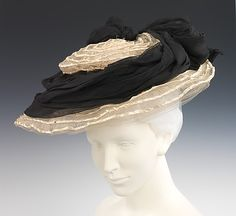Hat Camille Roger  Date: ca. 1895 Culture: French Medium: horsehair, straw, silk Dimensions: 5 x 15 1/2 in. (12.7 x 39.4 cm) Credit Line: Brooklyn Museum Costume Collection at The Metropolitan Museum of Art, Gift of the Brooklyn Museum, 2009; Gift of Mrs. Frederick H. Prince, Jr., 1967