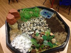 Small world play. We're going on a bear hunt black tray with lots of sensory aspects. The kids loved it! Tuff Spot, Nursery Activities, Preschool Activities, Sensory Bins, Sensory Play, Story Sack, Role Play Areas, Tuff Tray, Small World Play