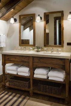 Love love love this rustic vanity in wood, with the white towels and the baskets....so pretty!