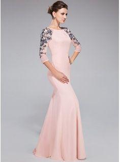 Trumpet/Mermaid Scoop Neck Floor-Length Chiffon Tulle Evening Dress With Ruffle Sequins (017041144) - JenJenHouse