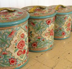 Vintage Jadeite and Rose Pink Shabby Tin Canisters