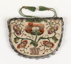 antique purse,silk-taffeta-bobbin lace-embroidered, 18th century,France