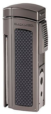 NEW BLACK LABEL by LOTUS-DOMINATOR 4 TORCH FLAME CIGAR TABLE LIGHTER-GUNMETAL!! Black Label is an innovative collection of distinctive #smoking accessories, featuring stylish carbon fiber and copper accents for the finest look for a night on the town.  #CigarLighter  Visit Our Website:-